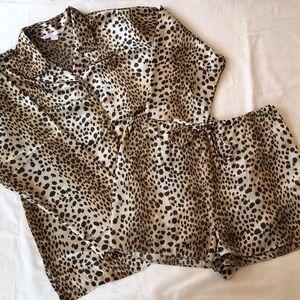 EUC Victorias Secret Animal Print Silky Pajama Set